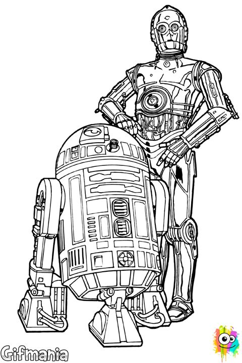 R2-D2 y C-3PO | Star wars coloring sheet, Star wars ...R2d2 And C3po Drawing
