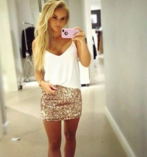 Sexy NewYears Outfit! White cut top & sexy short cute sparkling gold skirt