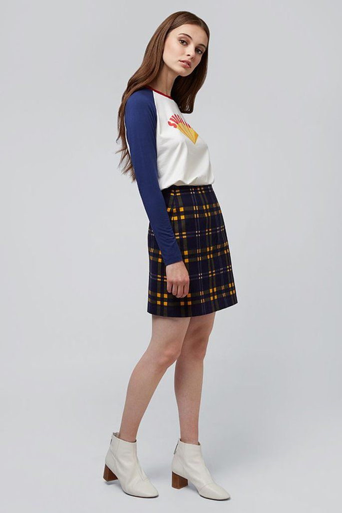 b2f6a5e8ef Sibel mini skirt in check mate print by British brand Louche. Made from 95%