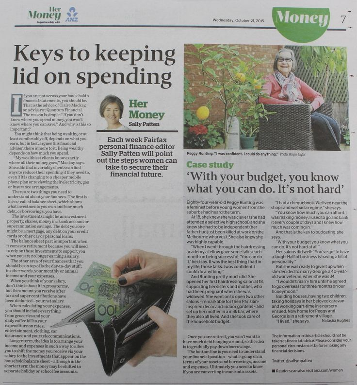Quantum Financial's Claire Mackay and the Sydney Morning Herald's Sally Patten discuss the two things you need to understand about your household finances http://www.smh.com.au/money/her-money/the-two-things-you-need-to-understand-about-your-household-finances-20150925-gjuwuv.html