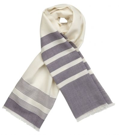 Hand woven merino wool scarf in acai & natural - Image Acai on Natural