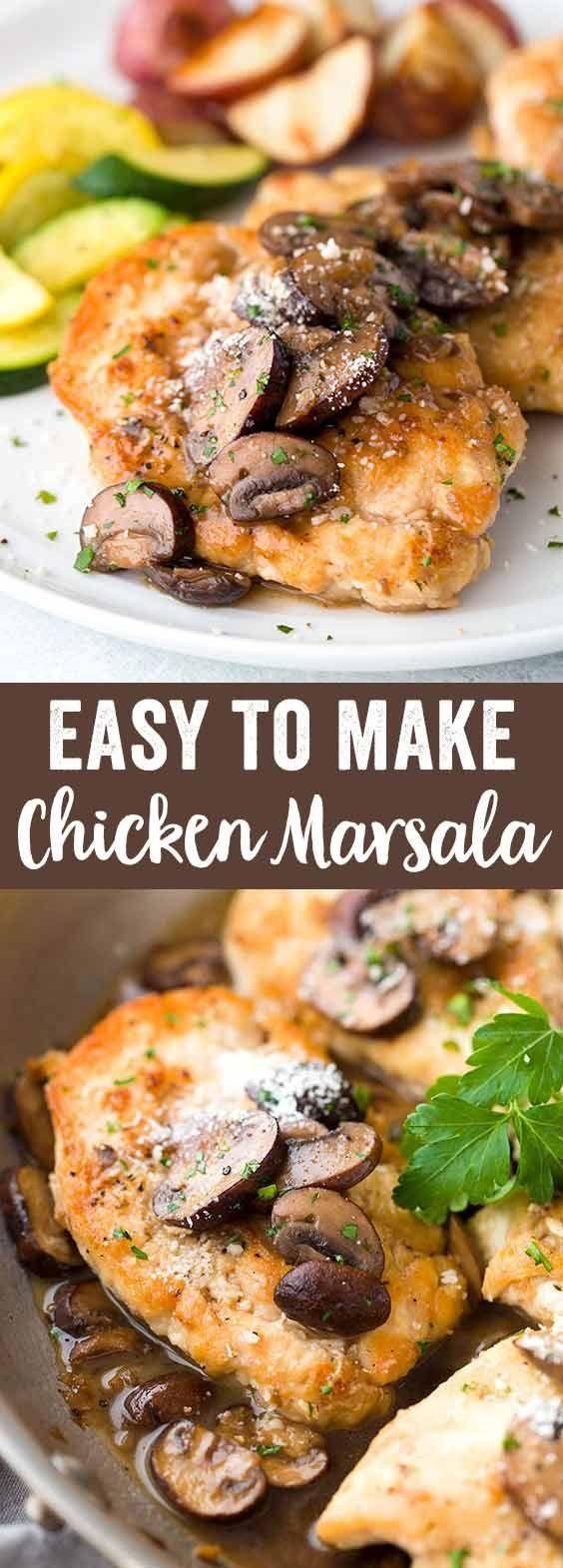 Easy Chicken Marsala Recipe - A classic Italian favorite, served with sautéed mushrooms and a delicious marsala wine sauce. via @foodiegavin