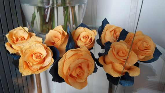 Orange High Quality Italian Crepe Paper Roses by moniaflowers