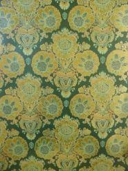 vintage medaillon behang goud groen met blinkend effect