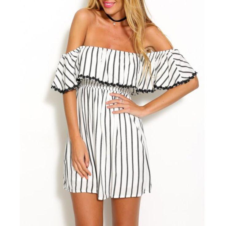 New 2016 Summer Fashion Women's Sexy Chiffon Dress Off the Shoulder Slash Neck Ruffles Collar Vertical Stripe High Waist Dress