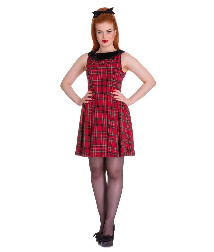 Hell Bunny Eleanor Tartan Mini Dress Red - UK 12 (M)