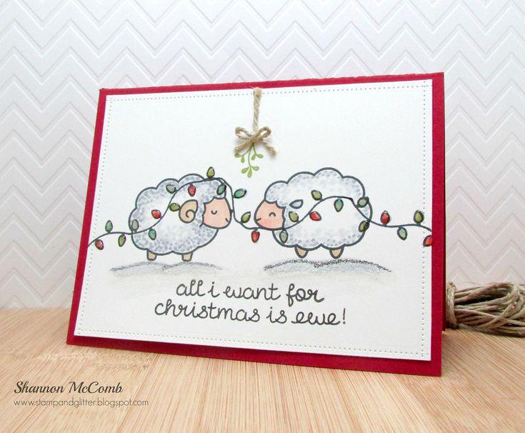 Lawn Fawn Baaah Humbug Sheep Christmas card by Shannon McComb www.stamandglitter.blogspot.com