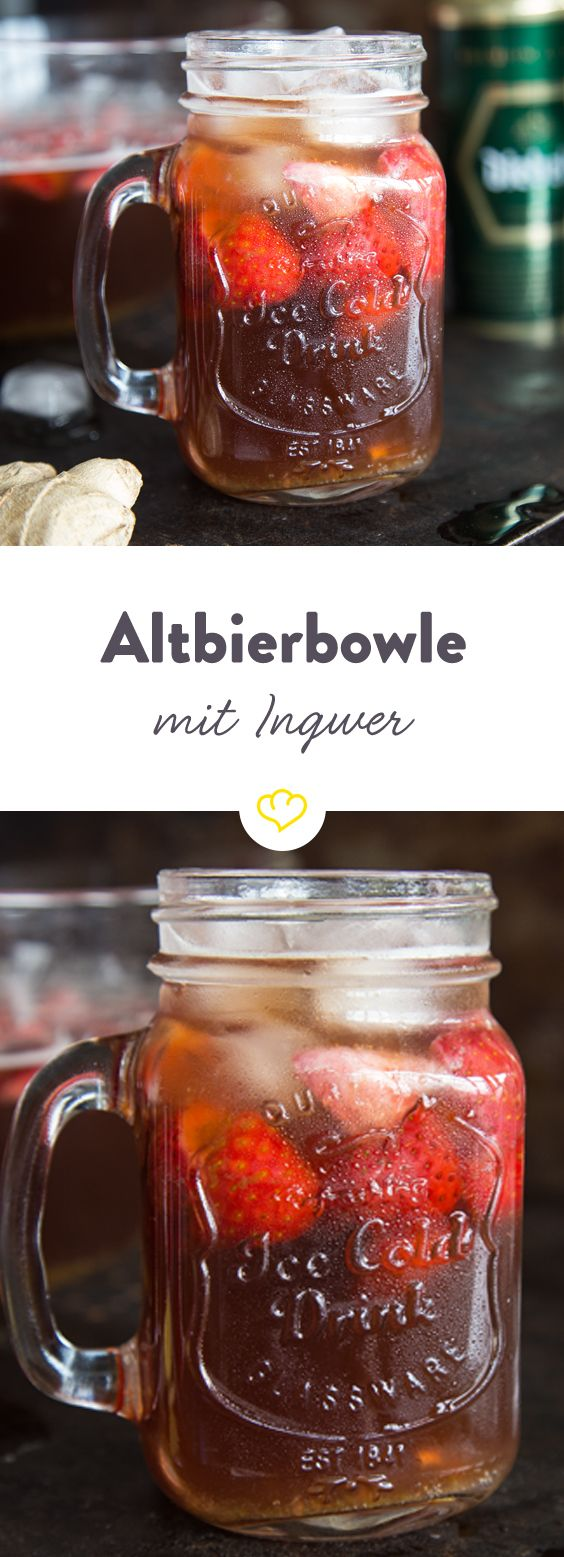 Schmeckt wie Bier - nur besser! Unser Biercocktail mit Altbier, Ingwer, Limetten und fruchtig, frischen Erdbeeren