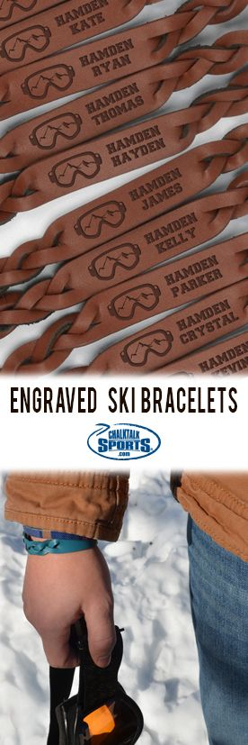 Your entire ski team will look great in these skiing custom leather bracelets!