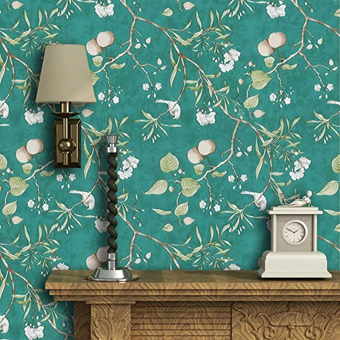 Green Peel And Stick Wallpaper Peach Tree Self Adhesive Wallpaper Floral Bird Removable Wal Green Floral Wallpaper Peel And Stick Wallpaper Removable Wallpaper