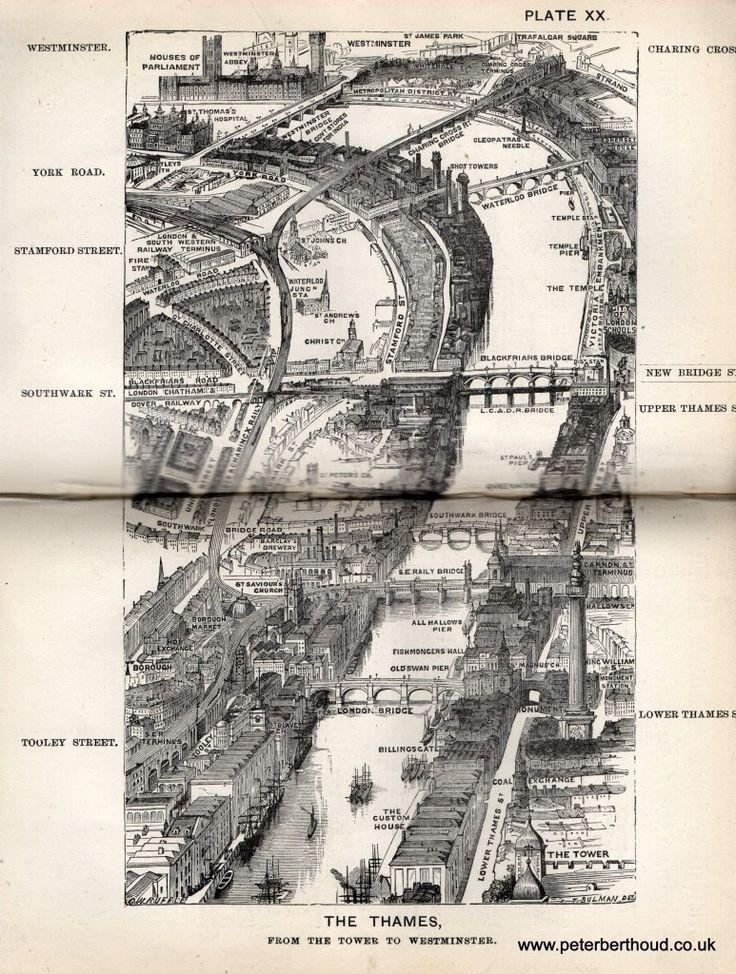 "The Thames - A bird's-eye view from Herbert Fry's ""London"" (1891)"
