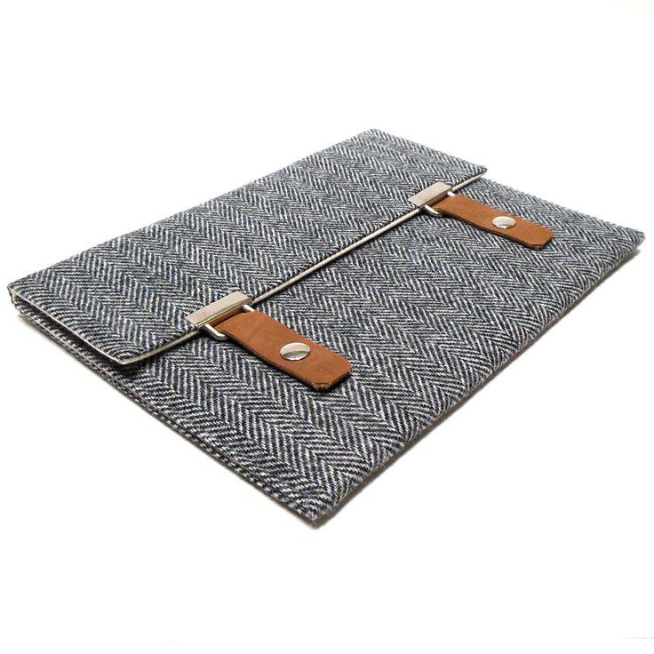 Image of iPad / iPad Air case in gray herringbone