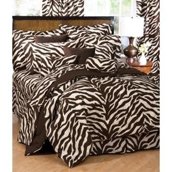 """Zebra Bed in a Bag - Brown/Tan (Full) by Karin Maki. Save 22 Off!. $107.99. Machine Wash. Oversize commercial washer for comforter.. Brown and Tan Zebra Bedding Set - Full Size. 50% Polyester, 50% Cotton. 180 Thread Count. All Components are Brown and Tan Zebra Print.. Bed in a Bag includes Comforter Set + Sheet Set: (1) comforter, (1) bedskirt, (2) shams, (1) flat sheet, (1) fitted sheet, and (2) pillowcases. Sheets will fit Mattresses Up to 13 """" Thick. Brown Zebra Bedding Col..."""