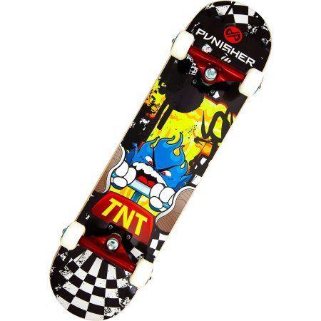 Punisher Skateboards TNT 31.5 inch Abec-7 Complete Skateboard, Multicolor