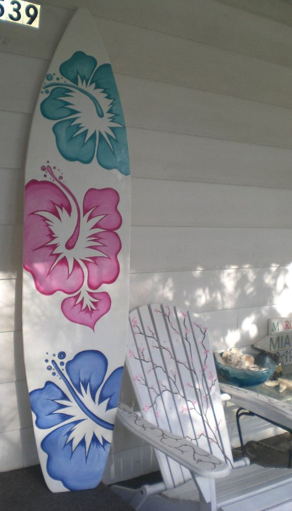 6 pied bois Hawaiian Surfboard Wall Art déco ou tête de lit chambre d'enfant