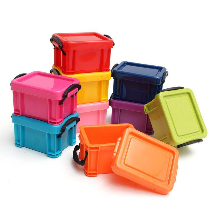 9Pcs Mini Multicolored Storage Boxes Management Plastic Container Organizer with Lid 6.5x5x4.8cm
