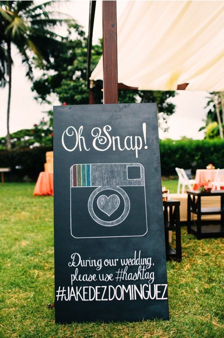 'Oh Snap' - cute sign for the wedding reception so guests know your wedding day hashtag   Christie Pham Photography http://boards.styleunveiled.com/pin/159222817f81958c839f0ce1903b247b