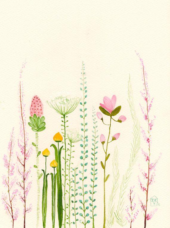 Garden+original+watercolorSALE+by+zuhalkanar+on+Etsy,+$40.00