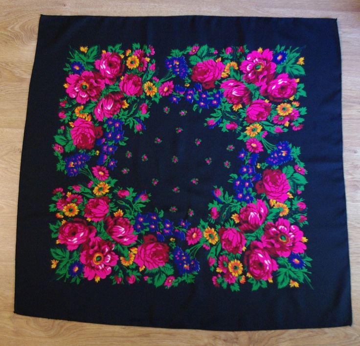 Vintage Black Polish Shawl / Russian Shawl / Ukrainian shawl / Floral square headscarf Flowers Neck scarf neckerchief Babushka kerchief USSR by VintagePolkaShop on Etsy
