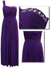Stunning cadbury purple bead trim one shoulder maxi for Purple maxi dresses for weddings