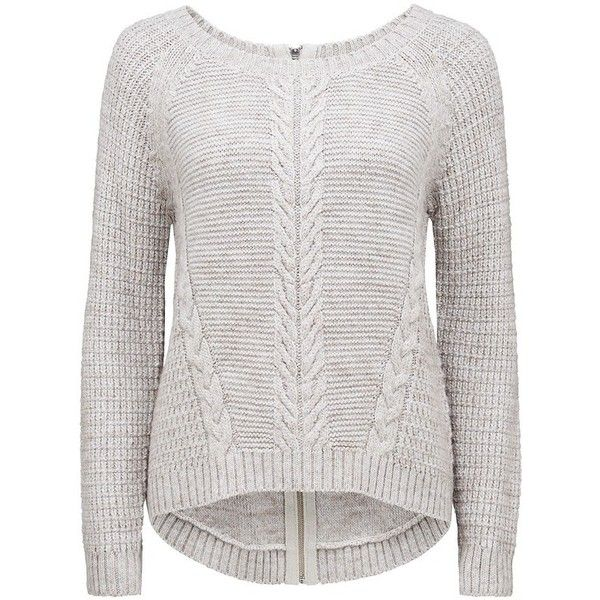 Forever New Simone cable Textured sweater ($45) ❤ liked on Polyvore featuring tops, sweaters, shirts, long sleeve sweaters, gray sweater, oversized long sleeve shirts, gray cable knit sweater and gray long sleeve shirt