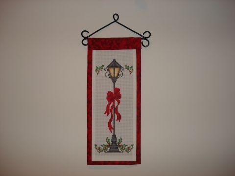 Banner, ajtódísz keresztszemes hímzéssel, Dekoráció, Dísz, Karácsonyi, adventi apróságok, Karácsonyi dekoráció, Meska