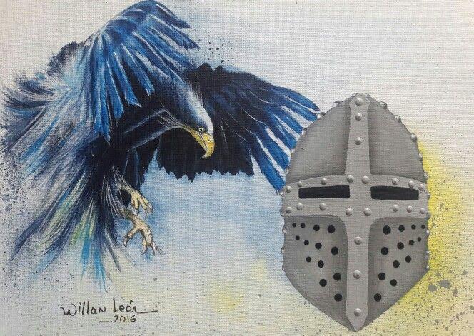 Aguila cruzada. Acrilico por Willan Leon año 2016