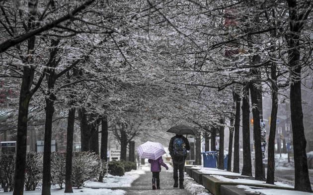 A man and a girl hold their umbrellas as they walk down the street during an ice storm in Toronto
