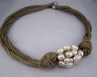 Natural Linen Necklace Freshwater Pearls  Thread Knots Braid Handmade Desing Mediterranean style