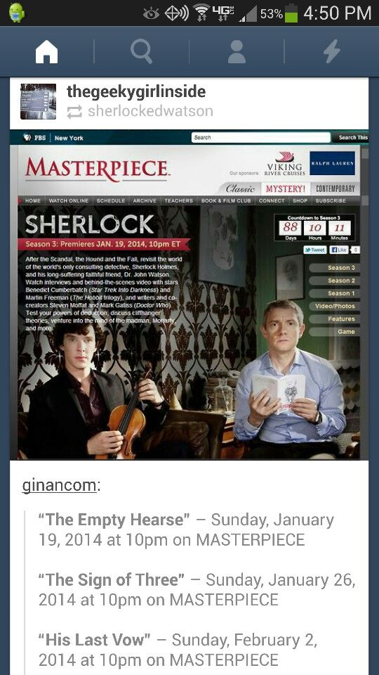 ATTENTION!! USA AIR DATES FOR SHERLOCK SEASON 3!!! FINALLY!