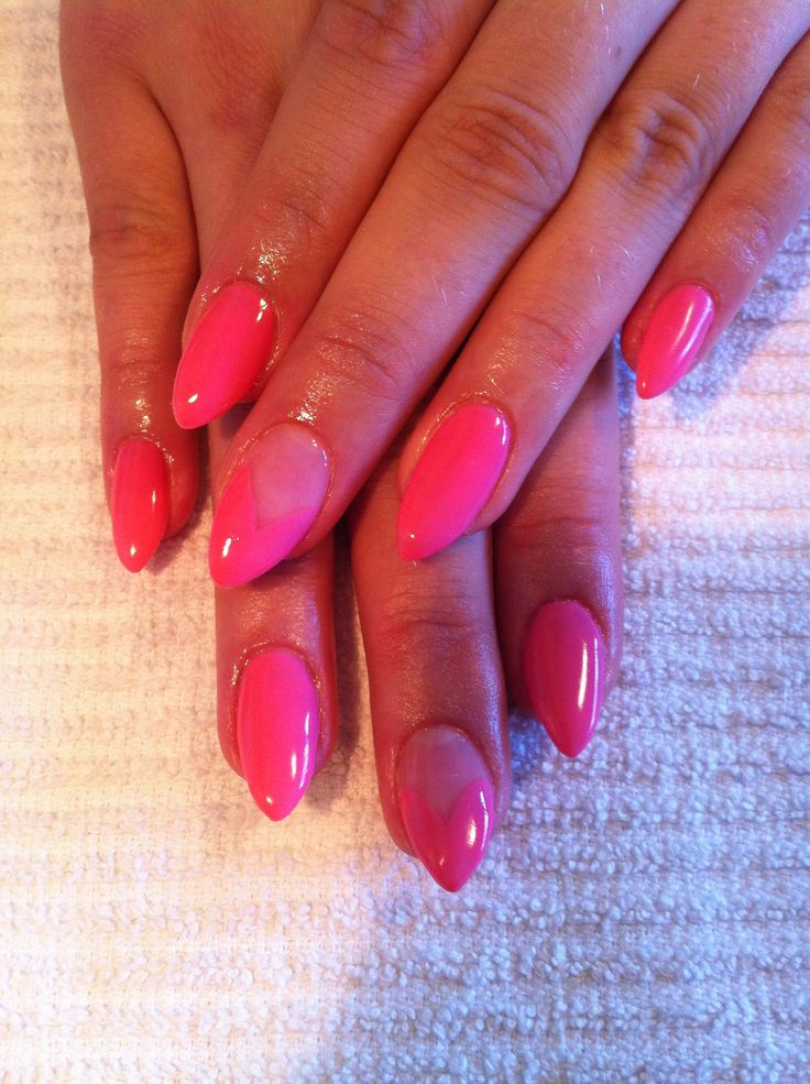 Hot pink almond nails