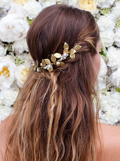 Wedding Hairstyles with Accessoriesfor Cool Brides-to-Be: Learn how to recreate this Half-Up Beachy Waves braid in three easy steps... | allure.com