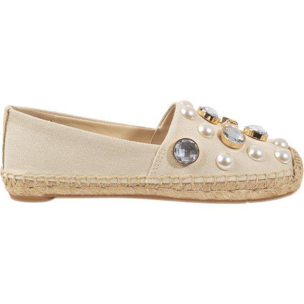 Tory Burch Vail embellished espadrille (£105) ❤ liked on Polyvore featuring shoes, sandals, beige, beige espadrilles, tory burch espadrilles, embellished sandals, tory burch sandals and tory burch