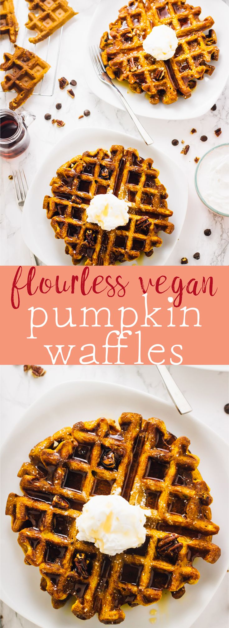 These Flourless Vegan Pumpkin Waffles are a tried and true waffle recipe. They're loaded with delicious pumpkin flavour, are freezer-friendly and are so easy to make! via http://jessicainthekitchen.com