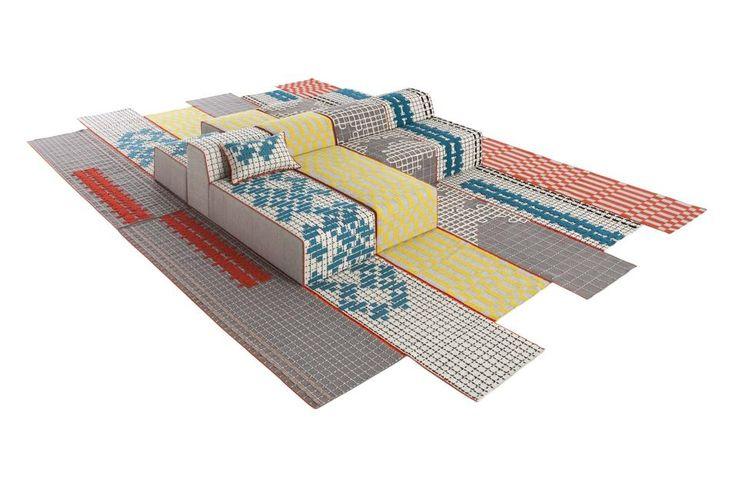 NEO FOLK BANDAS DI GAN RUGS Patricia Urquiola firma la collezione Bandas per Gan Rugs,. L'inbrido tra seduta e tappeto riporta i pattern geometrici e ultra colorati tipici della tradizione folk. Dai motivi popolari intessuti nei tappeti sardi agli arabeschi spagnoli,