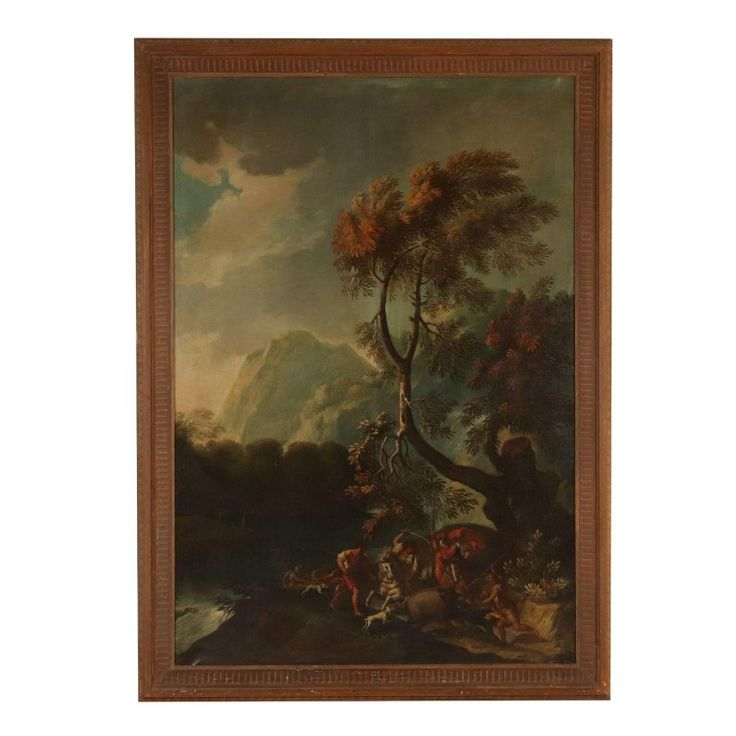 Unknown – Large Landscape Wild Boar Hunting Oil on Canvas 18th Century