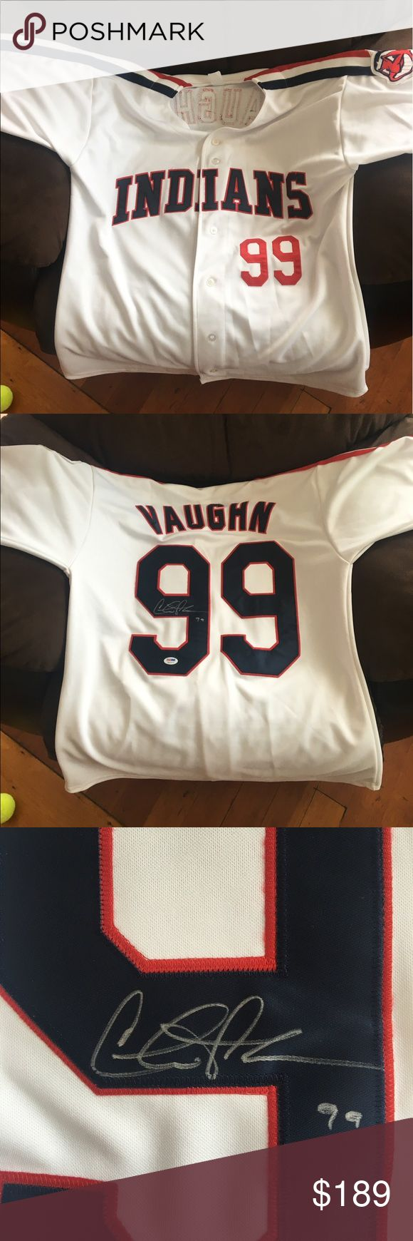 Indians | Autographed by Charlie Sheen Who's seen the movie Major League?? You can own a Ricky 'Wild Thing' Vaughn jersey number 99 signed by Charlie Sheen! How awesome is that?! Autograph is certified with papers. Jersey is authentic 2017 Gold Rush. Shirts