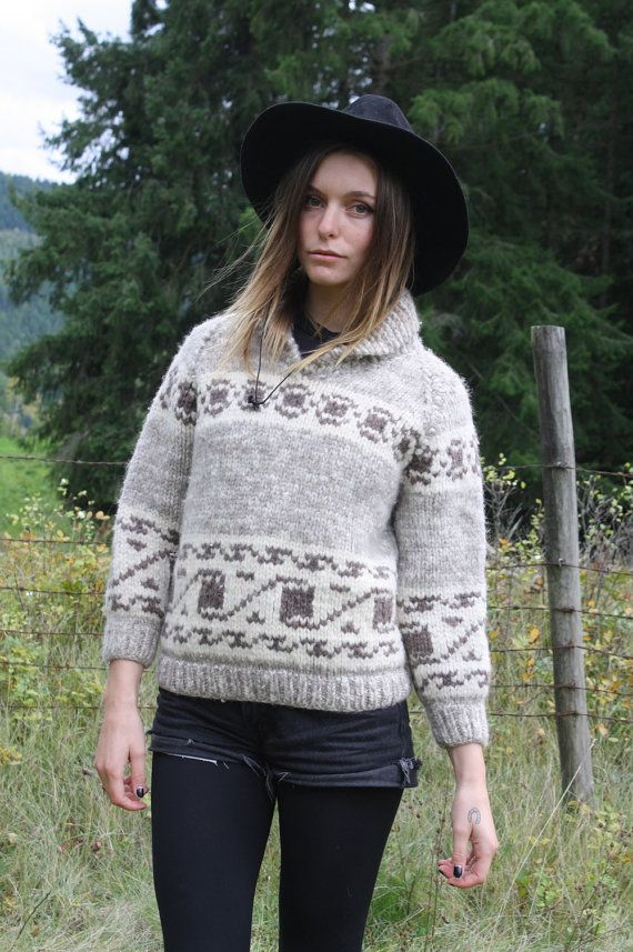 Vintage 70s Authentic Cowichan Knit Canadian Made Pullover Sweater