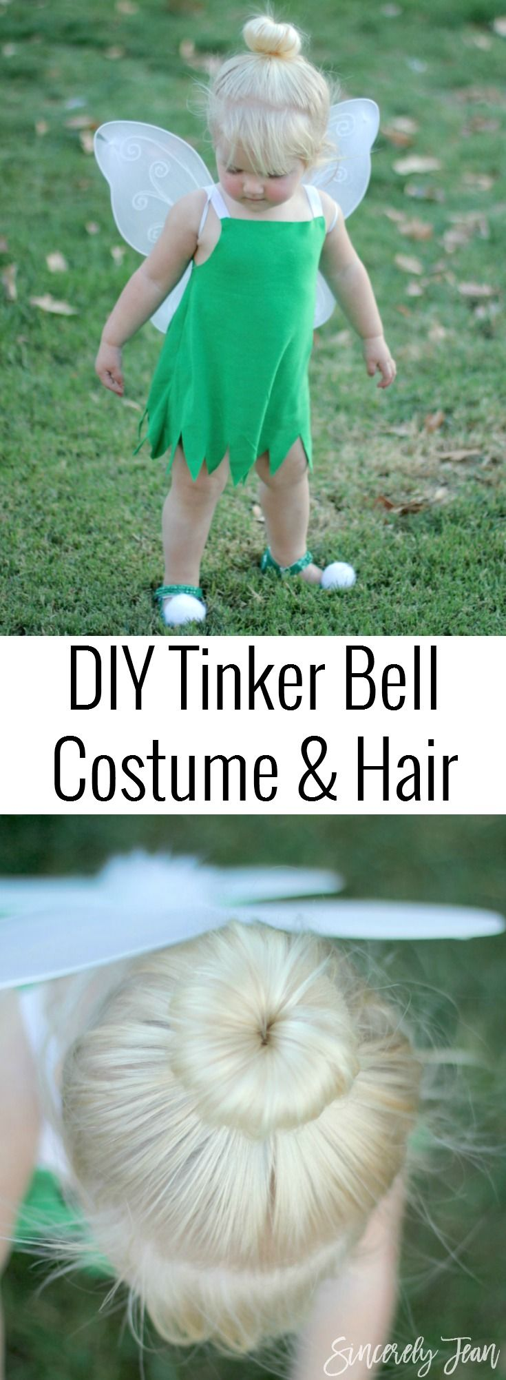 Toddler Halloween Costume - DIY Toddler Tinker Bell Costume and Hair - Simple and cute tutorial on how to make a toddler Tinker Bell costume and tips for doing the hair! | www.sincerelyjean.com