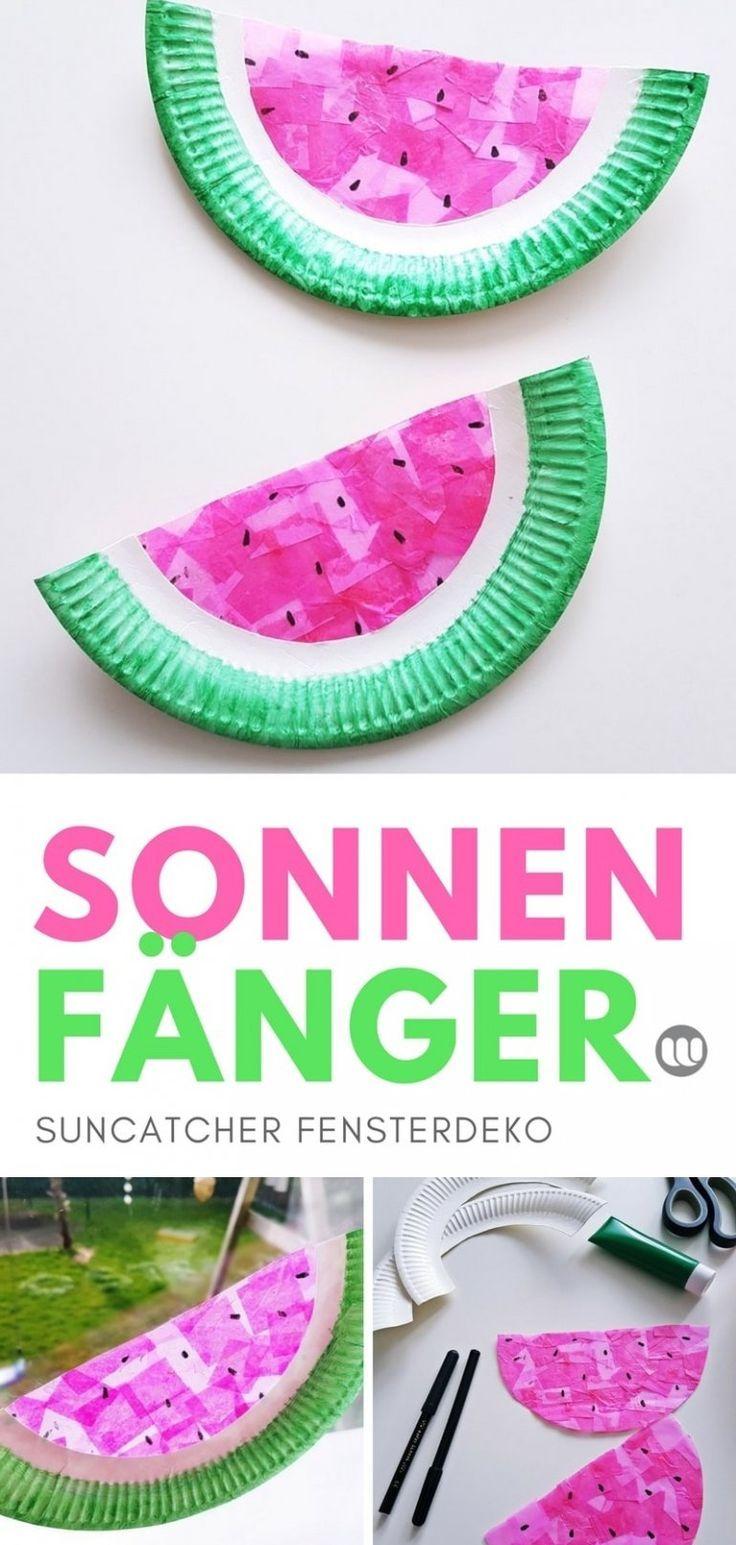 wassermelone suncatcher: sommer fensterbild basteln mit kindern
