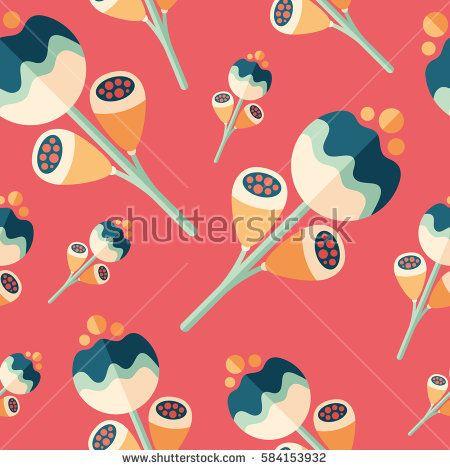 Magic flowers flat icon seamless pattern. #flowerpattern #vectorpattern #patterndesign #seamlesspattern