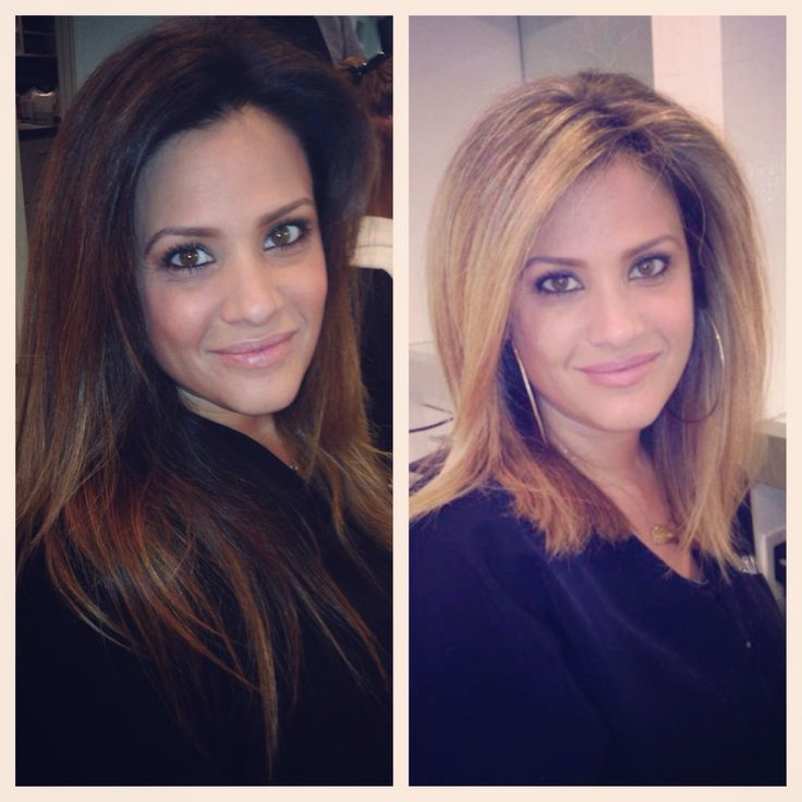 From brunette to blonde in one day. Before and after are both my work.