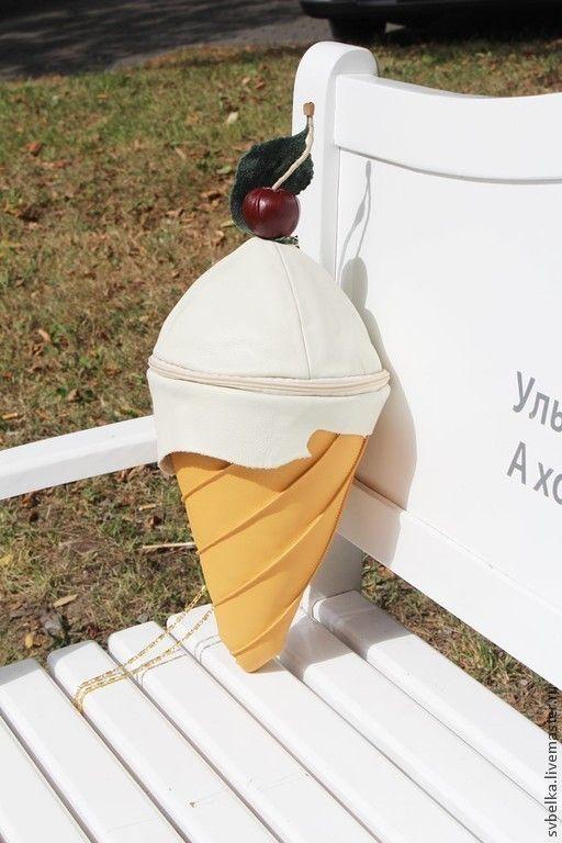 Купить Сумка Мороженное - однотонный, кожа, мороженое, сумка, сумка из натуральной кожи, подарок, жара