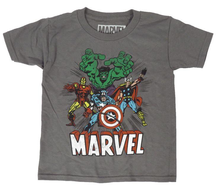 Marvel Comics Avengers Captain America Iron Man Hulk Thor Kids Gray T-Shirt