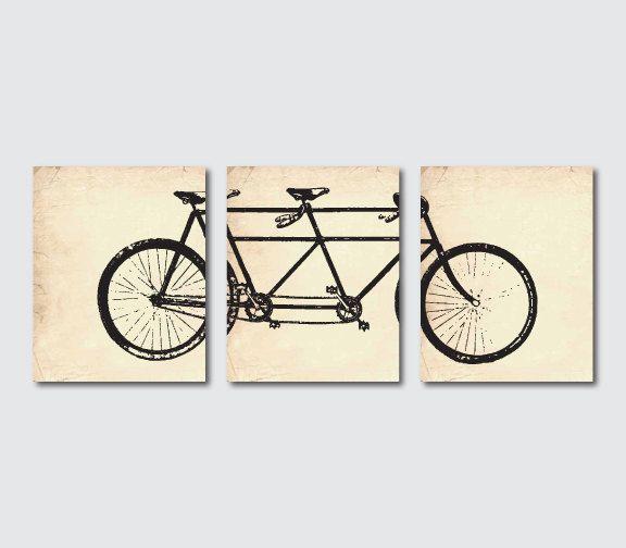 Wall Decor Tandem Bike Wall Art Wall Art Trio Room