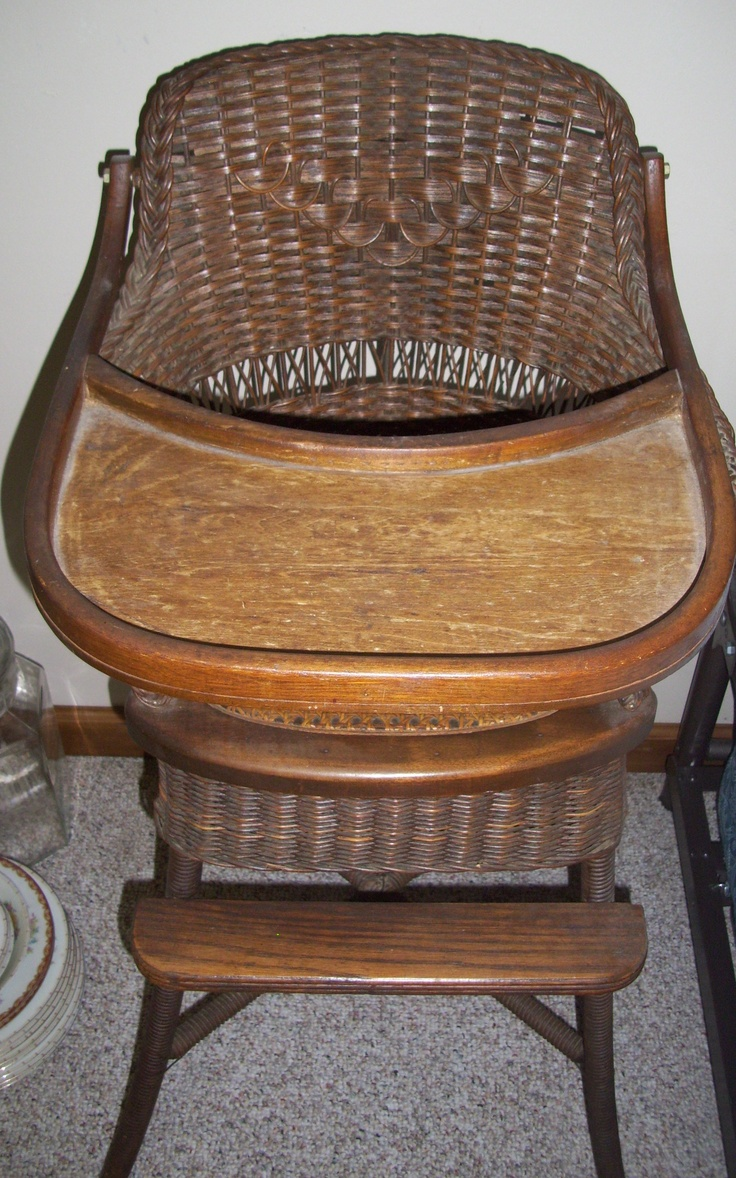 Antique cane rocking chairs - Antique Wicker High Chair