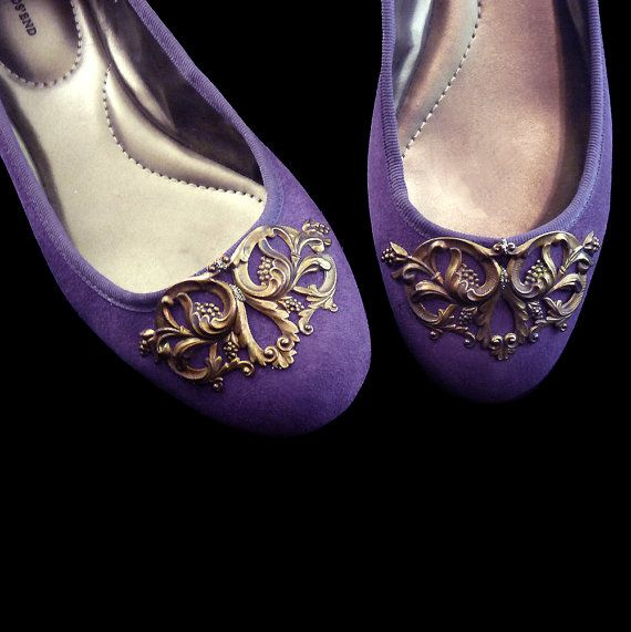 Purple Ballet Flats w Vintage Antiqued Brass by RetroVintage123, $49.00