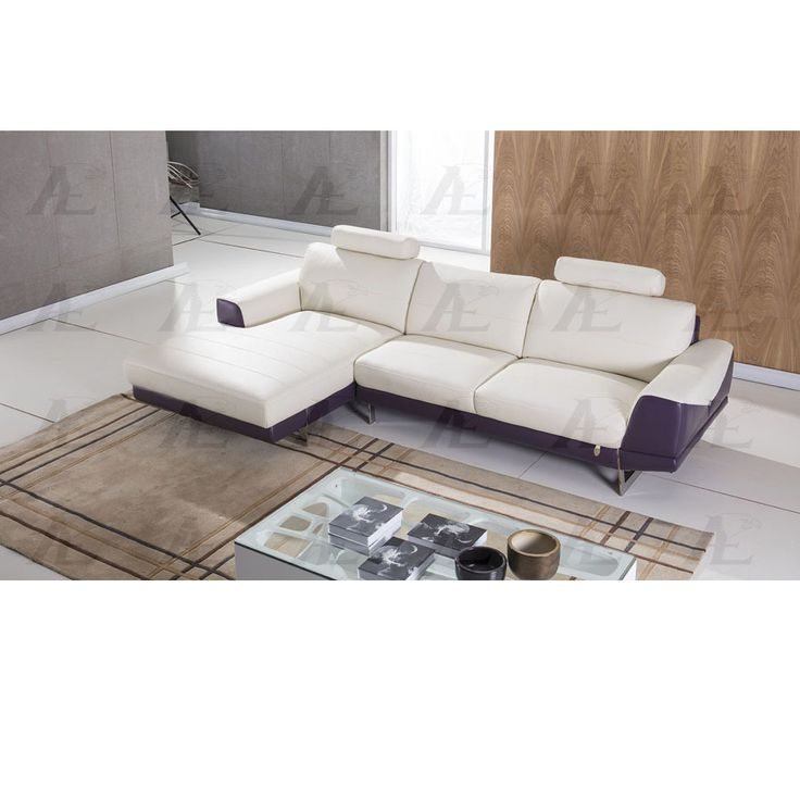 2 Pcs Right Chaise White And Purple Italian Leather Sectional Sofa Set