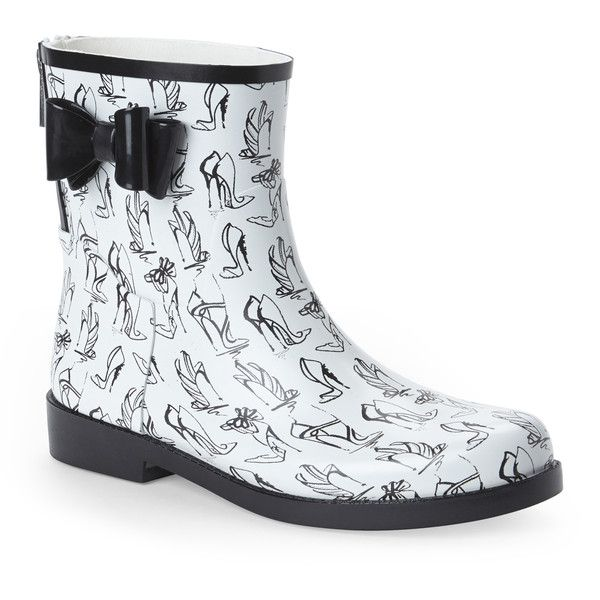 Jessica Simpson White & Black Raila Rain Boots ($40) ❤ liked on Polyvore featuring shoes, boots, blacks, wellington rubber boots, wellies boots, black and white rain boots, rubber boots and lined rain boots