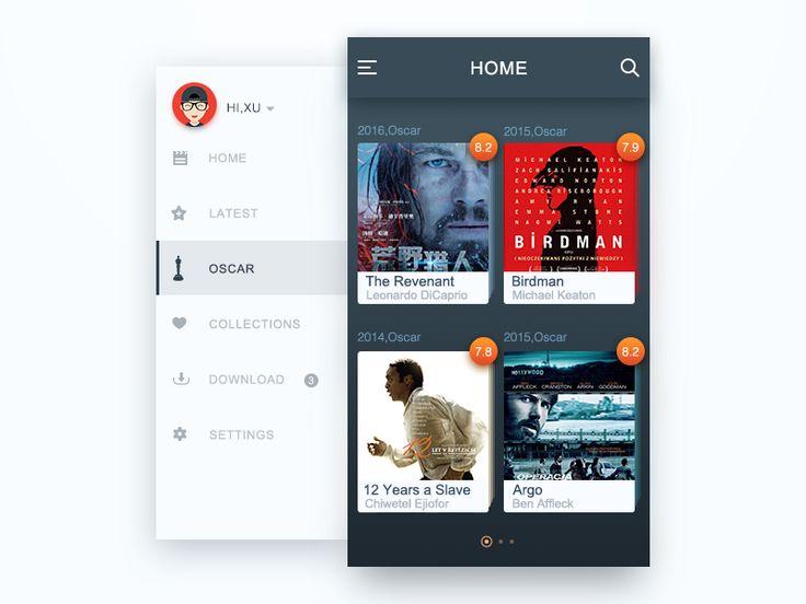 Movie app interface Oscar collection  UI